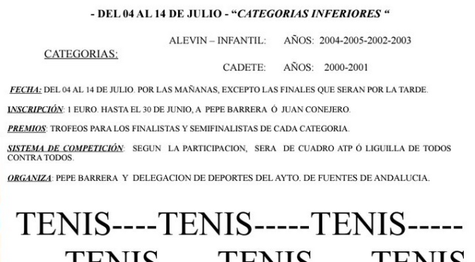 XIº Torneo Individual de Tenis (categorías inferiores) ¡INSCRÍBETE!