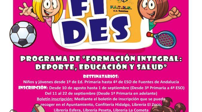 Programa FIDES curso 2017/18 'Formación Integral: deportes, educación y salud'
