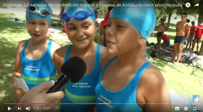 (vídeo) Reportaje: La natación de competición regresa a Fuentes de Andalucía cinco años después