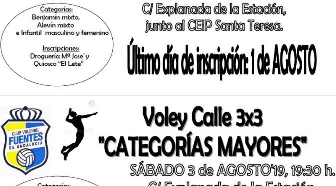 Torneo Voleibol Calle 3×3, próximo 02 y 03 de agosto 2019 ¡Apúntate!