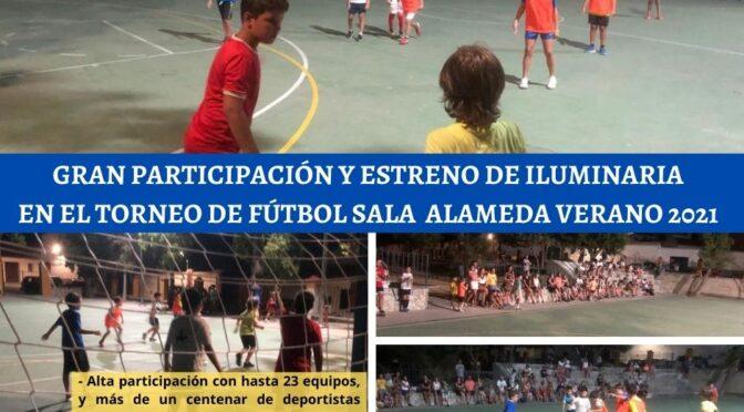 Gran participación y estreno de iluminaria en el torneo de fútbol sala de la alameda de verano 2021