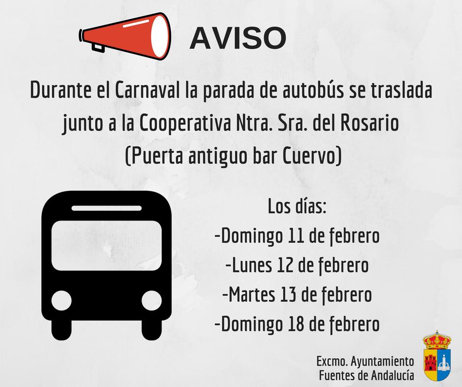 Aviso traslado de la parada de autob s por carnaval junto for Oficina electronica inem