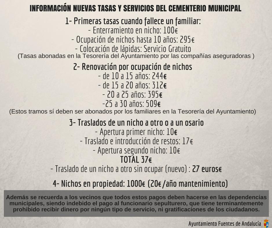 Nuevas tasas y servicios del cementerio municipal - Oficina virtual inem ...